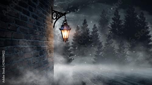 Dark street, a lantern on an old brick wall, a large moon, smoke, smog Canvas Print