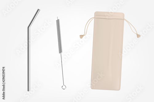 Metal, bendy drinking straw, steel cleaning brush and leather, fabric case, brea Canvas Print