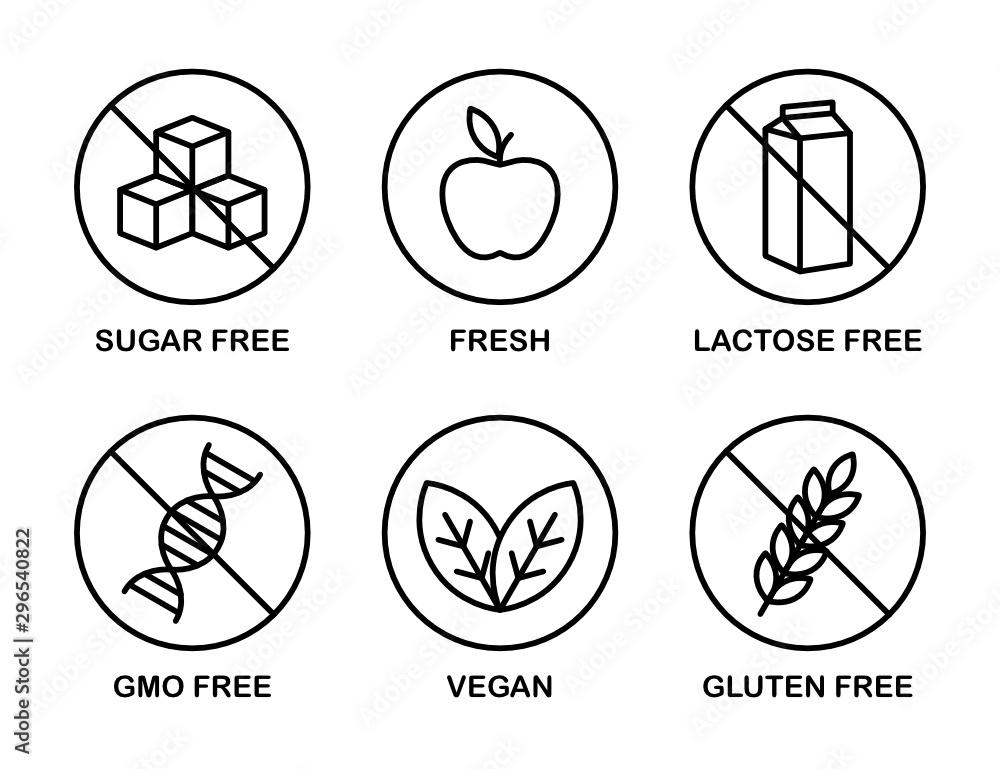 Fototapety, obrazy: Set of icons: Sugar Free, Gluten Free, Vegan, Lactose Free, GMO Free, Fresh.