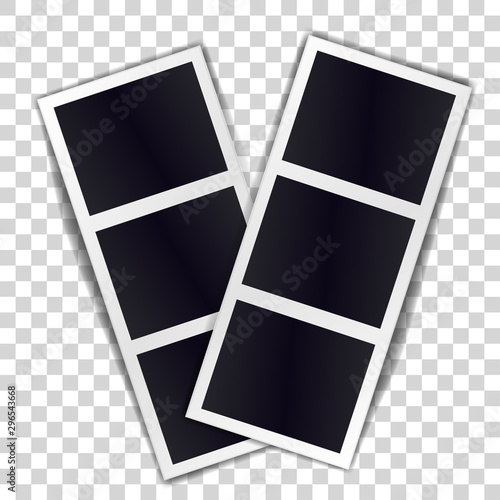 Valokuva Composition of two stripe blank vintage photo frames on transparent background
