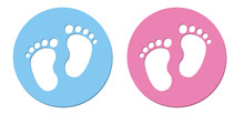 Baby Foot Barefoot Pink And Blue Button