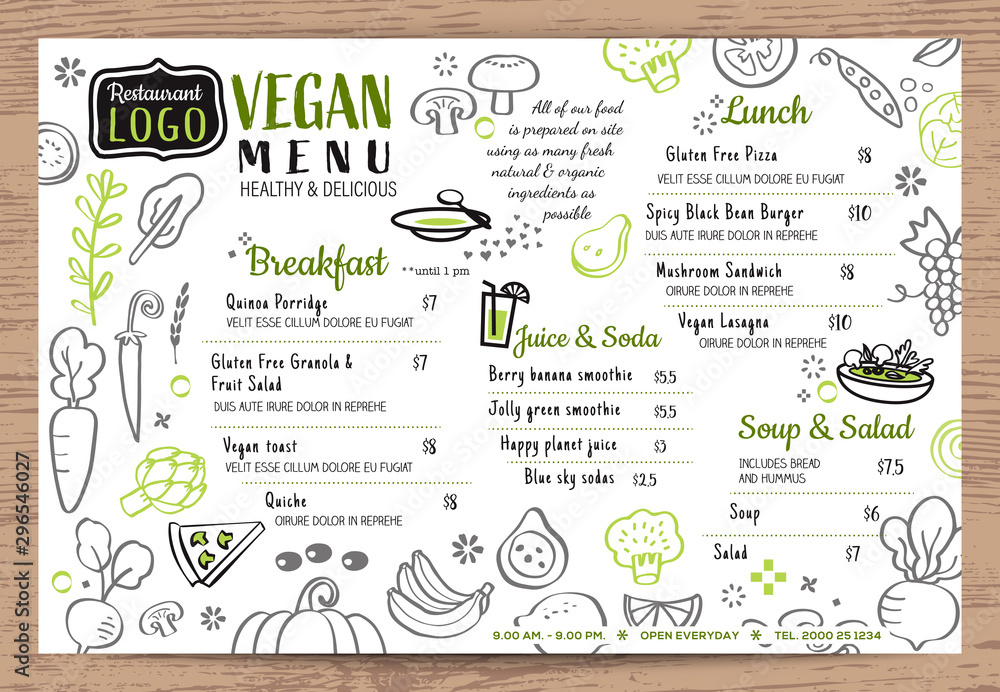 Fototapety, obrazy: Green organic food, Vegan restaurant menu, board or place mat vector template. Vegetables doodle background.