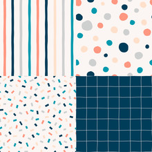 Vertical Parallel Stripes Pattern. Polka Dot, Circles Hand Drawn Print. Checkered Geometrical Simple Texture. Confetti Decorative Backdrop. Colourful Abstract Seamless Designs Set.