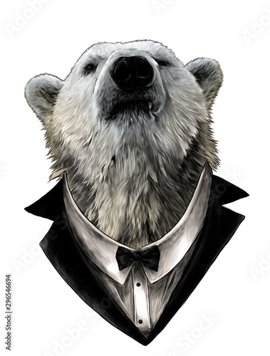 proud bear head looking confidently forward in jacket, shirt and bow tie, sketch Canvas