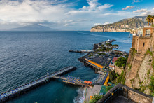 The Beautiful Italian Town Of Sorrento Situated In The Bay Of Naples. Mount Vesuvius Can Be Seen In The Distance.§