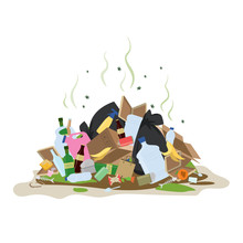 Big Smelly Pile Of Garbage. Bad Smell Trash.Isolated On White Background.