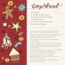 Christmas Gingerbread Cookie Recipe Card. Icing Gingerbread Cookie