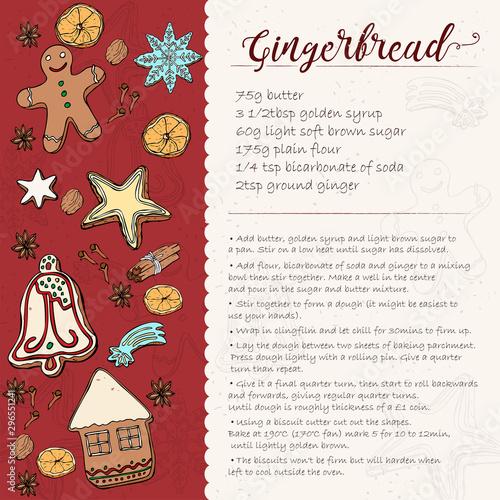 Fototapeta Christmas gingerbread cookie recipe card. icing gingerbread cookie obraz