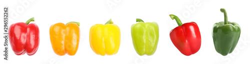 Fotografie, Obraz Set of fresh ripe bell peppers on white background