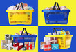 Leinwandbild Motiv Set of shopping baskets full of gift boxes on color backgrounds