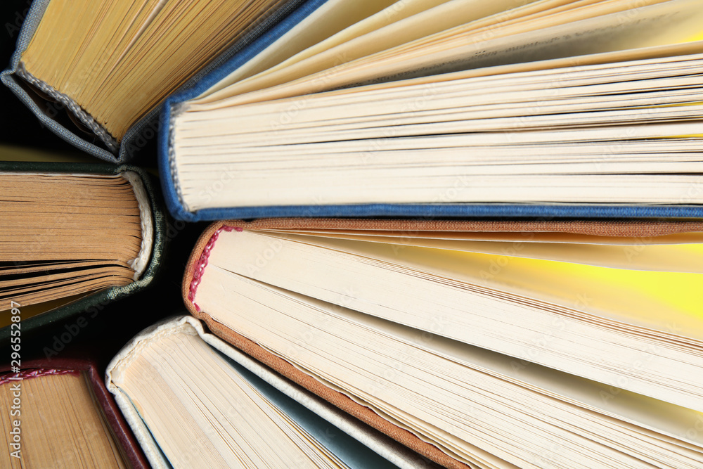 Fototapety, obrazy: Hardcover old books as background, top view