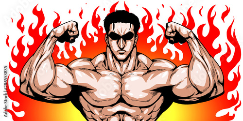 オリンピック,スポーツ,日本代表,劇画,漫画,筋肉,ボディビル,マッチョ,ポーズ,正面,日本,日の丸