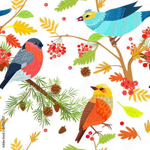 Poster Parrot Graceful seamless texture with cute birds on branches of trees f