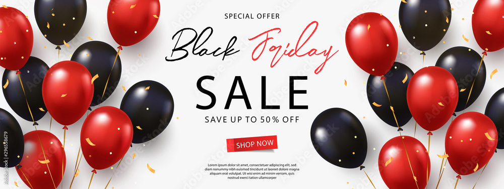 Fototapety, obrazy: Black Friday Sale banner, poster or flyer design with black and red helium balloons on white background. Trendy modern design template for advertisement, social and fashion ads. Vector illustration