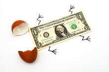One-dollar Bill Hatched From An Egg, White Background, Macro