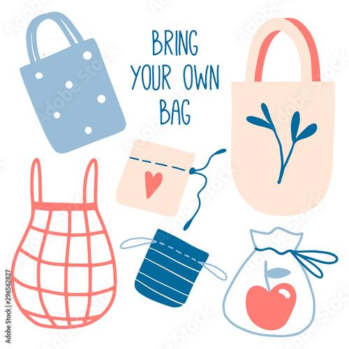 Bring your own bag slogan. Cute zero waste elements Canvas-taulu