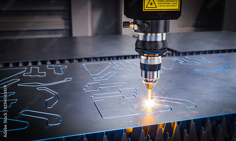Fototapety, obrazy: cnc laser machinery for metal cutting.