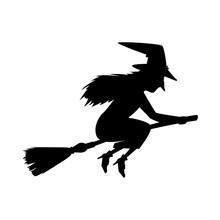 Witch Silhouette Flying In Broom Isolated Icon Vector Illustration Design