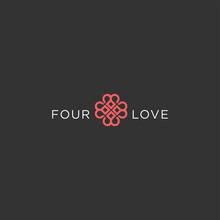 Number 4 Heart Logo Design. An...