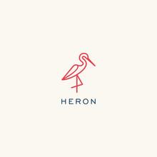 Heron Logo Design. Flamingo Icon Illustration Vector