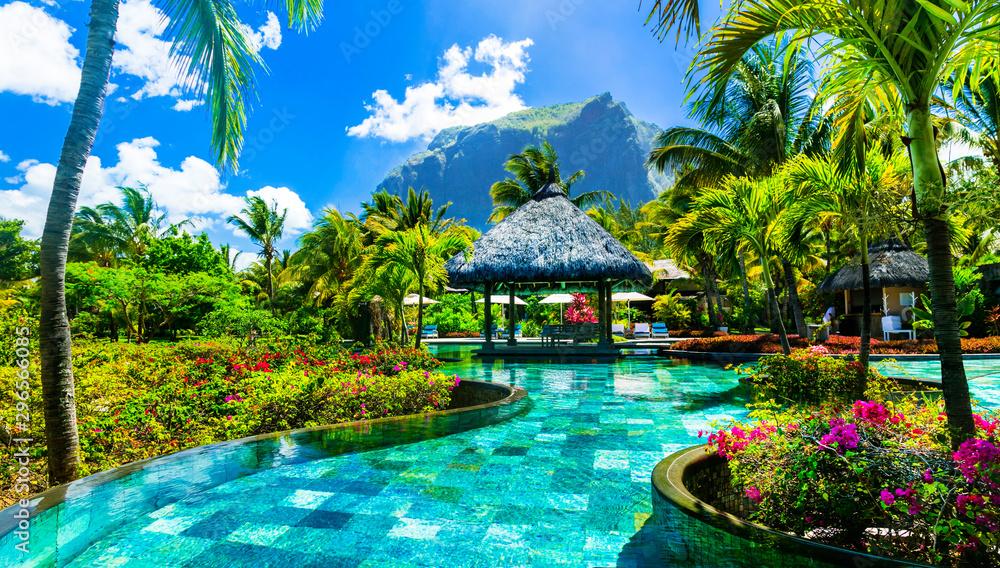 Fototapeta Tropical vacations - relaxing pool bar . Mauritius island