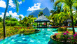 Leinwanddruck Bild - Tropical vacations - relaxing pool bar . Mauritius island