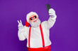 canvas print picture - Portrait of his he nice funny cheerful cheery bearded Santa taking making selfie showing v-sign travel trip blogging isolated over bright vivid shine vibrant violet lilac background