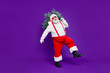 canvas print picture - Let it snow. Full length photo of funny fat santa father holding x-mas tree on shoulder wanna make perfect eve wear sun specs costume isolated purple background