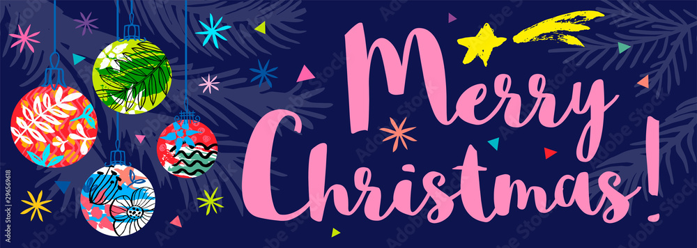 Fototapety, obrazy: Merry Christmas lettering seasons greeting banner. Christmas tree colorful quote stars snowflakes. New Year horizontal banner design pattern. Hand drawn vector illustration.