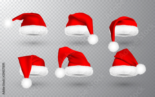 Fotografía  Red Santa Claus hat isolated on transparent background