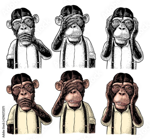 Tablou Canvas Three wise monkeys