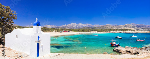 Traditional Greece - small church on the turquoise beach Wallpaper Mural