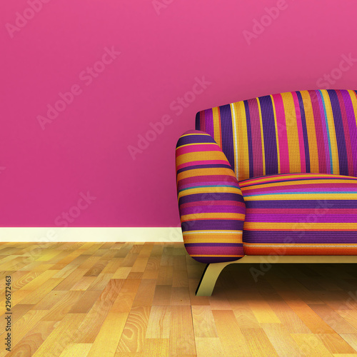 Poster Pink Beautiful room with sofa and landscape
