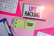 canvas print picture - Text sign showing Life Hacking. Business photo text Simple and clever techniques in accomplishing task easily Writing equipments and computer stuffs placed above colored plain table