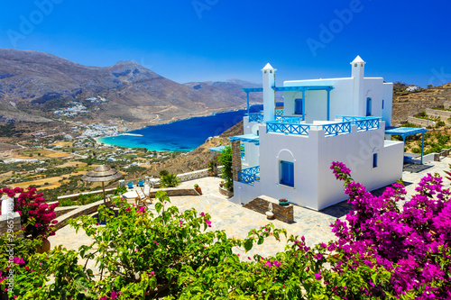 amazing Greek holidays - Amorgos island, splendid view of Aegialis bay, Cyclades Wallpaper Mural