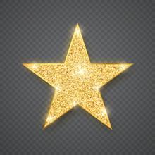 Gold Shiny Glitter Glowing Sta...