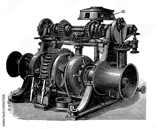 Fotografia Maritime transport: steam engine driving a capstan drum through a wheel gearing