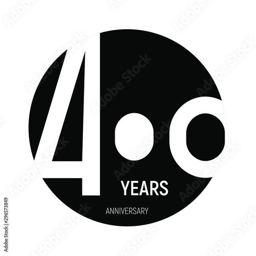 400 years anniversary logo template isolated on white, black and white print Fototapete