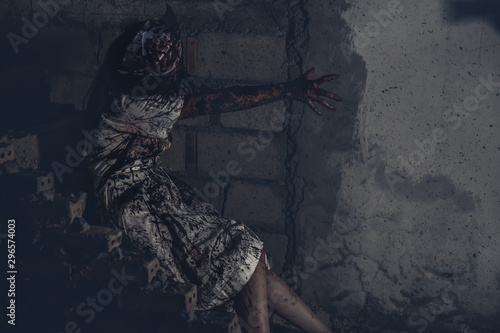 Ghost nurse woman or zombie in the building abandoned hospital. Canvas Print