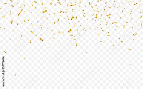 Fototapeta Gold confetti. Celebration carnival falling shiny glitter confetti in gold color. Luxury greeting card. Vector illustration obraz na płótnie