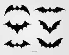 Black Bat Silhouette Vector De...