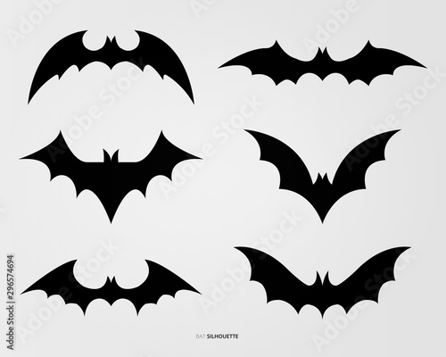 Black bat silhouette vector design Canvas Print
