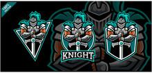 Vector Logo. Knight With Sword On Three Background Variation.