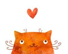 Cute Watercolor Red Cat In Lov...
