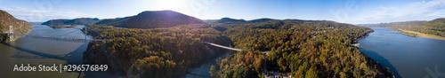Fotografie, Obraz  360 degree aerial panorama of the Hudson River Valley of New York near Poughkeepsie
