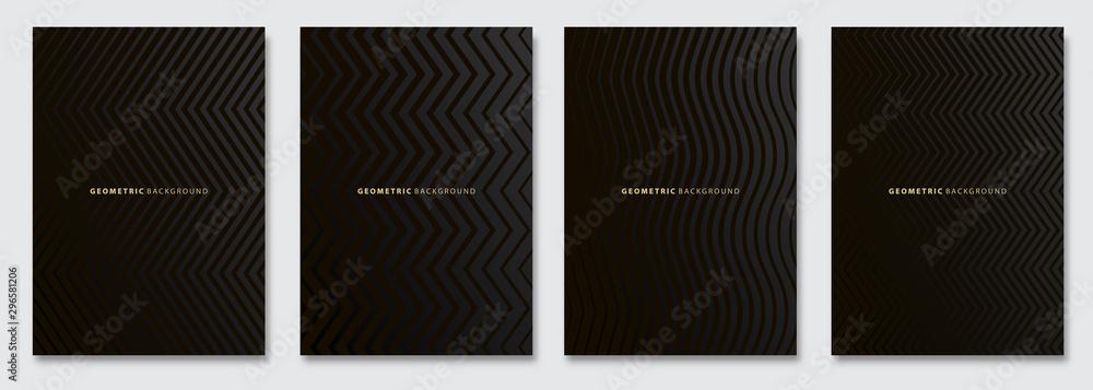 Fototapeta Vector abstract background, dark subtle creative wave patterns, geometric gradient texture. Deluxe Minimal pattern design. Modern Cover templates set.