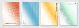 Streszczenie tło wektor, kreatywne wzory rastra, geometryczna tekstura gradientu. Minimalistyczny wzór. Żywe kolory. Zestaw nowoczesnych szablonów okładek.