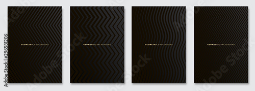 Fotomural  Vector abstract background, dark subtle creative wave patterns, geometric gradient texture