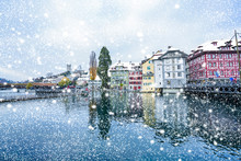 Snow Falling Over Lucerne Reuss