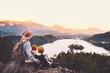 Leinwandbild Motiv Journey Slovenia with kids. Family travel Europe. View on Bled Lake